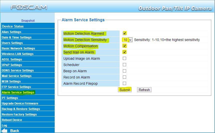 ipcam alarm settings
